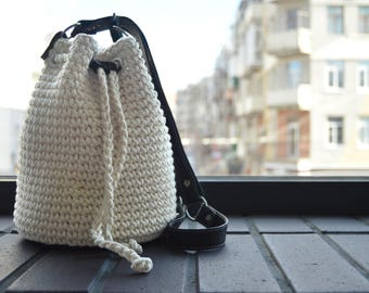 White crochet bag Basket bag Bucket bag Summer cotton bag Women white accessory Shoulder bag purse Leather handbag Gift for women