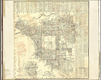 Poster, Many Sizes Available; Street Map Of San Diego, California 1911