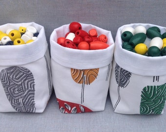 Set of 3 fabric storage baskets. Scandinavian style. Desk tidy. Home storage. Nursery storage. Kid's room decor. Desk organizer. UK made.