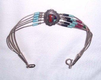 Vintage Sterling Silver Inlay Heart Concho Bracelet with Liquid Silver Heishi Beads
