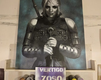 Stencil of Ciri from The Wither 3 Wild Hunt