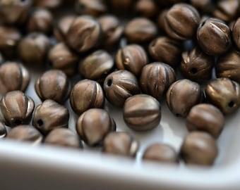 Gemahlenen Kaffee - Premium Glasperlen, opak Matt Bronze, Bronze waschen, Baby Melone Runden 6mm - Pc 25