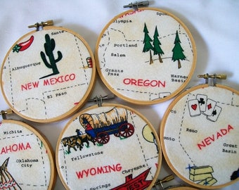Hoop Art of States, Home State, Vacation Souvenir, State Name with Picture