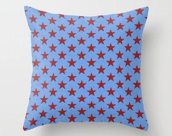 Stars Pillow Cover Red Stars Pillow Nautical Pillow Throw Pillow Patriotic Pillow Size Choice