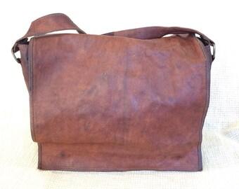 Vintage brown waxed leather messenger travel bag crossbody work school