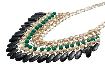 MULTISTRAND gold charms necklace black and green