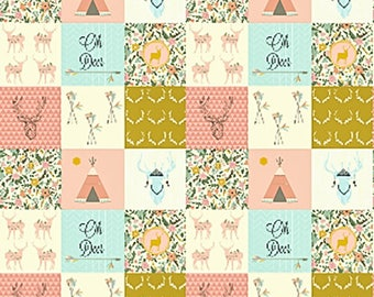 Boho Baby Quilt, Teepee Deer Floral, Pink Coral Blue, Minky Baby Blanket, Girl Crib Bedding, Woodland Baby Quilt, Patchwork Quilt, Tribal