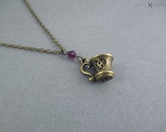 Collier de charme de tasse à thé - Bronze