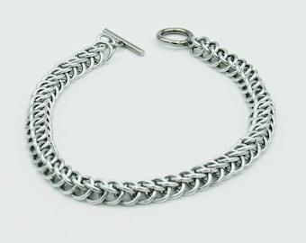 Silver Chainmail Bracelet, Half Persian Weave, Chainmaille Bracelet, Chainmail Weave, Chainmail Jewelry, Handmade Bracelet