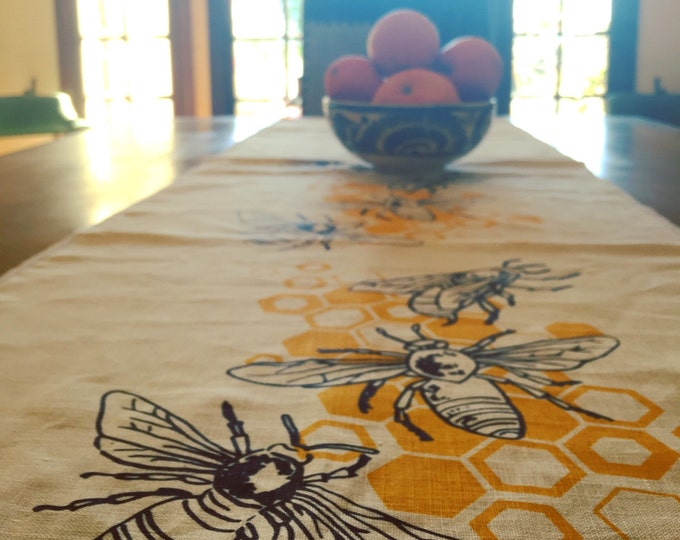 Honeybees Hand Printed Linen Table Runner | Honey Bee Handmade Linens & Runners | Housewarming Wedding Gift | Valentine's Day Gifts