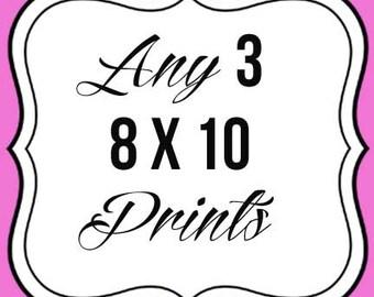 Any 3 8x10 Prints--chalkboard art prints--hand drawn
