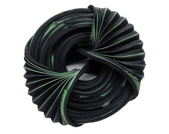 Shibori ribbon «Black ice cream» 30 cm Silk Handmade Non-toxic dye