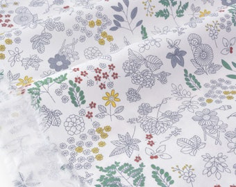 Gray background floral soft cotton twill fabric white x50cm