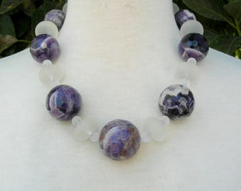 Big Boulder Chevron Amethyst Beads, Frosted Glass & Frosted Lucite Beads, Statement Necklace Set by SandraDesigns
