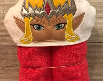 Hooded Towel, Zelda Hooded Towel, Zelda Bath Towel, Bath, Bathroom, Zelda Towel, Link, The Legend of Zelda, Princess Zelda