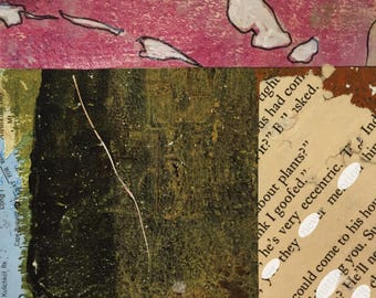 """Storm Warning - Original Collage with Hand Drawn and Painted Papers 4 x 4 on 5 x 5"""" Backing"""