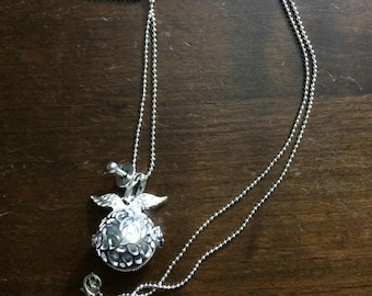 Silver bola pregnancy Bead Necklace with chain in ball.