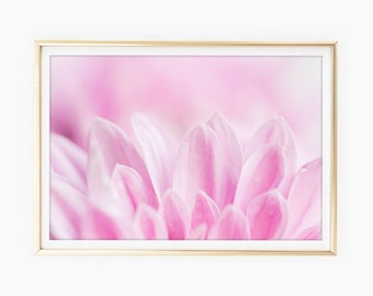 Flower Print Download, Pink Flower Macro Photography, Girl Nursery Wall Art, Botanical Prints, Feminine, Digital Print Art, Printable Art