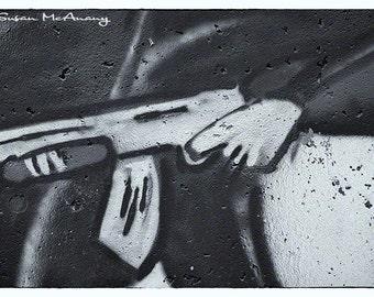 Gun Graffiti Photograph, Urban Art, Firearm Drawing, Graffiti Photo Art, Street Art, Home Decor, Office Decor, Edgy Art, Black and White