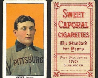 1909 t206 honus wagner with sweet caporal cigarettes back vintage look