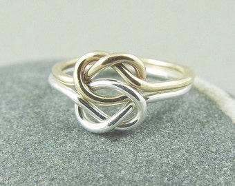 Double Love Knot Ring / Gold Love Knot Ring / Celtic Knot Ring / Sister Ring / Friendship Ring / Sweetheart Ring /