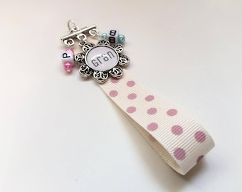 Personalised Mothers Day Bookmark Keyring with Initials Beads PROMOTIONAL PRICE