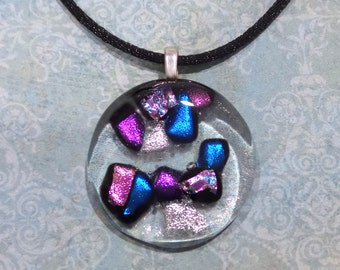 Transparent Fused Glass Pendant with Colorful Dichroic Accents, Fused Glass Jewelry, Ready to Ship - The Lights of Broadway - 1837-5