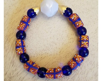 Blue and Orange Multi Trade bead Bracelet
