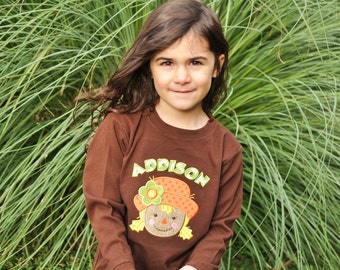 Personalized Girl Scarecrow Kids Shirt or Bodysuit with Applique Name
