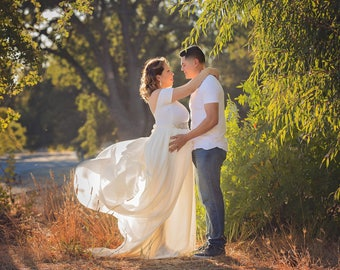 Maternity Dress for Photo Shoot-Long Maternity Dress-Fitted Maternity Gown-Maxi Gown-Maternity Dress for Baby Shower-FAYTH DRESS