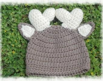 Crochet Deer Hat, Crochet reindeer Hat, Baby Deer Hat, Deer Hat, Deer hat photo prop