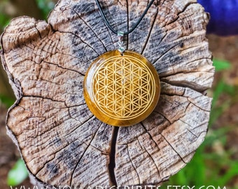 Tiger Eye Flower of life Pendant with adjustable necklace