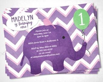 Elephant and Bird Birthday Invitation - DIY Printable