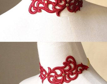 statement // gothic choker // red lace necklace bracelet // vintage goth punk //jewelry set  gift for her