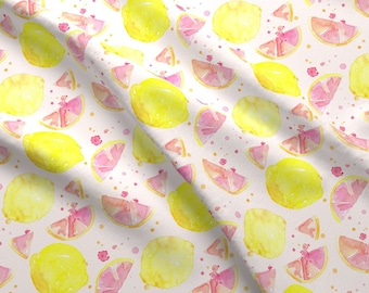 Watercolor Pink Lemon Fabric - Pink Lemonade By Erinanne - Pink Cotton Fabric By The Yard With Spoonflower