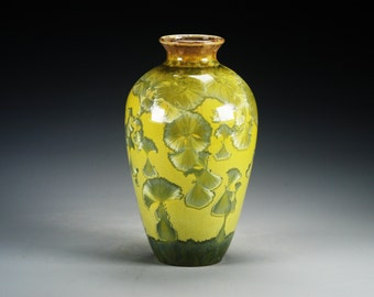 Ceramic Vase - Yellowish Green - Crystalline Glaze on High-Fired Porcelain - Hand-Made Pottery - SHIPPING INCLUDED  - #A-5206