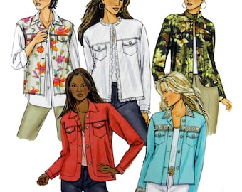 2006 Butterick 4741 Loose Fitting Jacket with Front Yoke and Neckline Variations, Uncut, Factory Folded Sewing Pattern Size 8-14