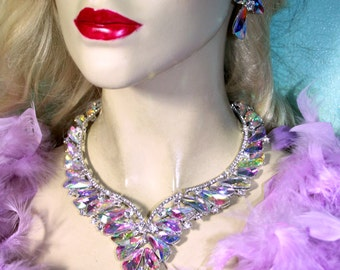 Bridal Jewelry Set Necklace Earrings Rhinestone Pageant Prom Crystal