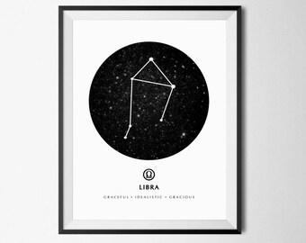 Libra Print, Libra Wall Art, Zodiac Libra, Zodiac Wall Art, Libra Constellation, Zodiac Poster, Libra Sign, Zodiac Wall Decor, Libra Poster
