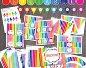 EDITABLE Rainbow Party De...