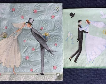 Paper Napkins - set of 4 - Ephemera for Decoupage, Card making, Collage, and Crafts