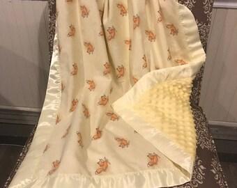 Yellow Foxes Minky Baby Blanket