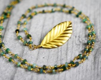 Magic Leaf gemstone chain with aventurine