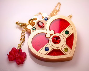 Cosmic Heart Compact Laser Cut Acrylic Sailor Moon Inspired Necklace or Keychain