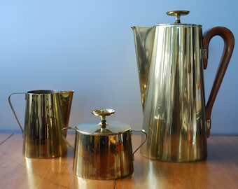 Vintage Tommi Parzinger Coffee Service - Midcentury Modern - dorlyn silversmiths - 1950's