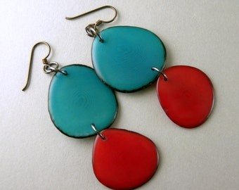 Turquoise and Red Tagua Nut Eco Friendly Earrings with Free USA Shipping #taguanut #ecofriendlyjewelry