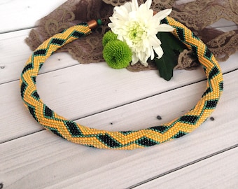 Beige green yellow necklace Snake necklace Bead Crochet Rope Necklace Seed beads jewelry Jewelry for her Christmas jewelry