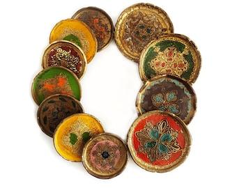 SALE Vintage Italian Florentine Coasters  ,Ornate Round Coasters set of 11, Colorful Bottle and Drinking Coaster Set Bohemian Decor