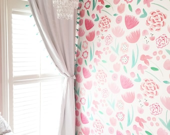 Removable Wallpaper / Cecily's Garden / Assorted quantities / Perfect for Renters