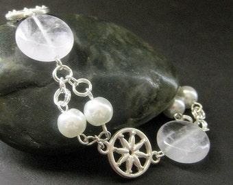 Lace Amethyst Charm Bracelet. Gemstone Bracelet in Silver and Pearls Bracelet. Handmade Bracelet.
